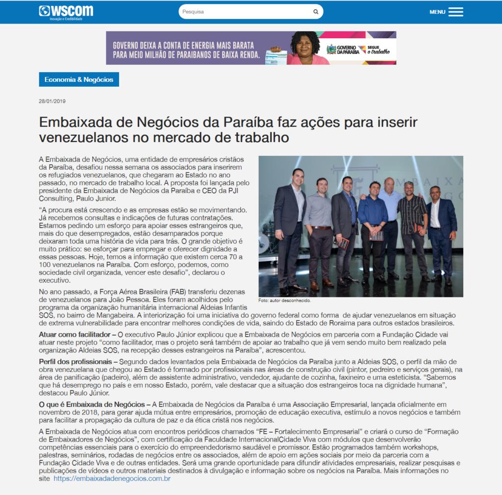 Print da página original com a notícia. https://www.wscom.com.br/noticia/embaixada-de-negocios-da-paraiba-faz-acoes-para-inserir-venezuelanos-no-mercado-de-trabalho/